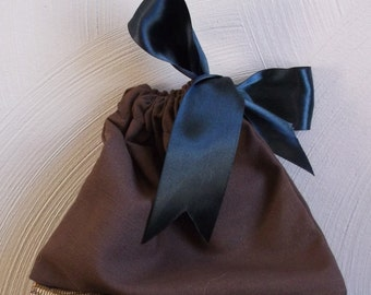 Gift Bag Brown Linen with Black Satin Ribbon