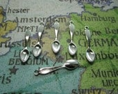 Teaspoon Charms 3D Findings Tiny Spoons Silver Tone Jewelry Supplies Doll Utensils x 6