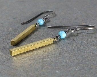 Vintage Brass Bar Earrings Turquoise Dangle Earrings Oxidized Sterling Silver