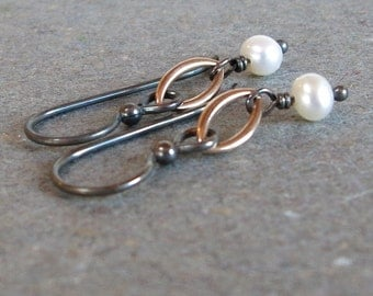 White Pearl Earrings Mixed Metal Oxidized Sterling Silver Earrings Gift for Mom Minimalist