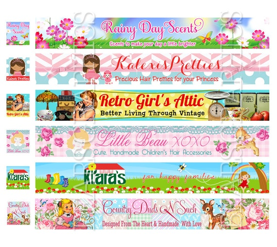 Custom Etsy Banner, Shop Banner, Store Banner, Banner for Etsy, Etsy Header, Banner Graphic Design, Retro Etsy Banner, Jewelry Banner