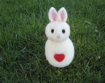 Needle Felted White Love Bunny Figure