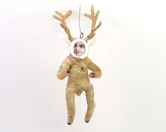 Spun Cotton Vintage Style Deer Boy Ornament