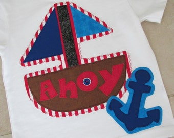 Boutique Custom Toddler Boy AHOY Shirt! Size 18 months! Ready to ship! Perfect for vacation!
