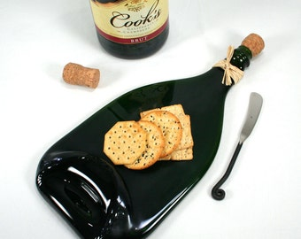 Magnum Champagne Bottle Flat Serving Tray with Cork and Raffia and Spreader - Recycled Eco-Friendly