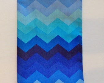 Fabric Paperback book Cover, Book Cover For Standard Paperback Book, Chevron Print Fabric, Blues,Paperback Book Cover with Ribbon Bookmark