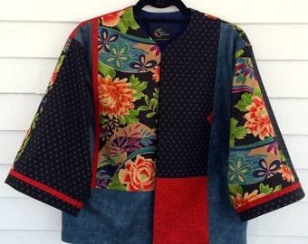 Kimono Style Jacket Features Fabulous Florals and Deep Indigo