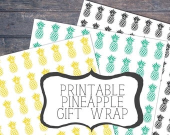 Printable Pineapples, gift wrap sheets ,Wrapping Paper, Digital Gift Wrap, pineapples Wrap, pineapple gift wrap, pineapple printable,