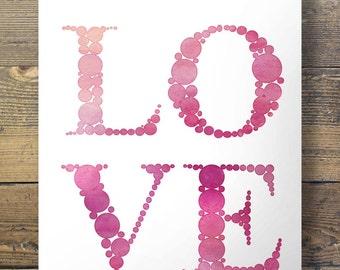 Watercolor Love Printable wall art  - 16x20 / 8x10 Instant download digital print