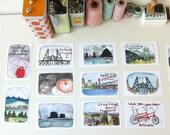 Portland Oregon Cards - Postcard Set - Set of Postcards - Portland Postcards - Set of 14 Portland Postcards  - Illustrated Postcards