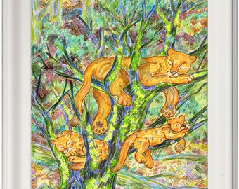Greeting Card, Puma, Mountain Lion, Cat, Mother, Baby, Animal, Forest, Eco-friendly, Sustainable Printing, Trees, Vegetable inks, Earth, Art