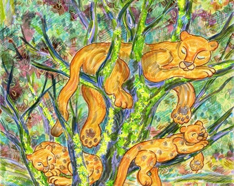 Greeting Card, Puma, Mountain Lion, Cat, Mother Baby, Totem Animal, Forest, Eco-friendly Sustainable Art, Vegetable inks, made in California