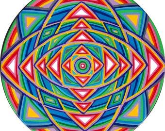 Circle Painting, Original, Handmade, Sacred Geometry, Mandala, Neon, Cosmic, Mystical, Design, Home, Garden, Art, Bohemian, Rainbow, Color