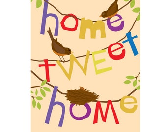 Home tweet home birds and nest art print 8 x 10 inch print in 11 x14 inch mat
