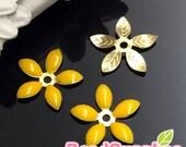 FG-EX-08001EY- Nickel Free, Lead Free, Color epoxy, 5-leaf beads cap, egg yolk yellow, 6 pcs