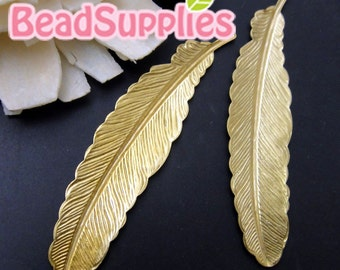 FG-FG-08019- Nickel Free, lead free, raw brass ,Feather stampings, 6 pcs