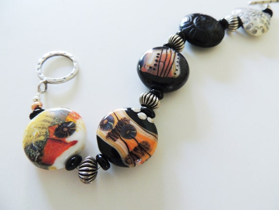 Artisan Lampwork Bracelet with Sterling Silver