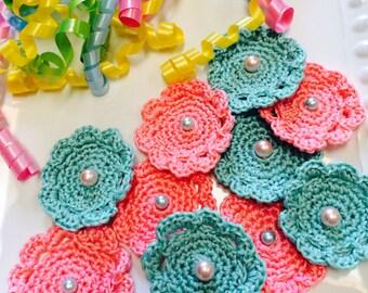 10 crochet Flower Appliqués, aqua & Coral with pearl bead..scrapbook, hair pins,
