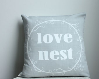 Love Nest Pillow cover 18 inch gray 18x18 modern hipster accessory home decor nursery baby gift present zipper canvas ready to ship