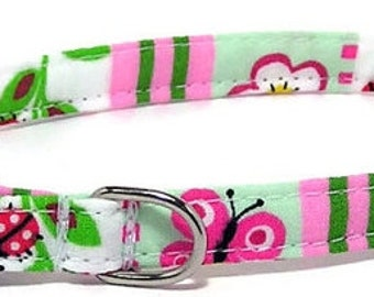 XS Dog Collar - Ladybugs Flowers and Stripes - Size Extra Small Miniature Teacup - Cute, Pretty and Fancy