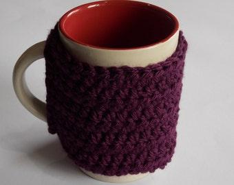 coffee cuff mug cup cozy cover solid deep eggplant purple crocheted