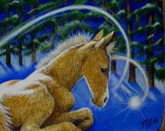 Baby Horse Art Book Illustration by Melody Lea Lamb ACEO Print #292