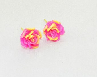 Sparkly pink and yellow dainty rose earrings, flower, love, fun, jewelry