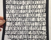 books are good company -  limited edition laser cut print #17/50.