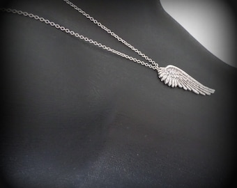 Wing Necklace Silver Wing Necklace Angel Wing Necklace Antique Silver Wing on Long Chain