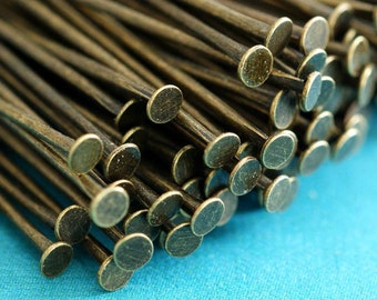 100ps 2in Antique Brass Headpins Findings 50mm
