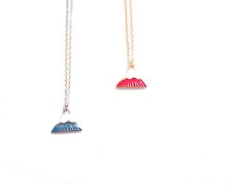 snow mountain necklace, blue or magenta