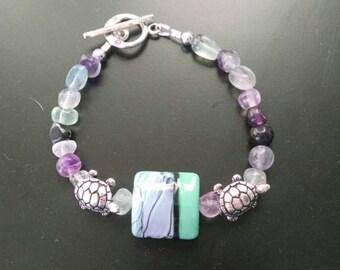 Artisan lampwork with flourite gemstone bracelet