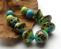 artisan lampwork, handmade  -   Happy Beads in Springtime Colors  MTO - by Calisto