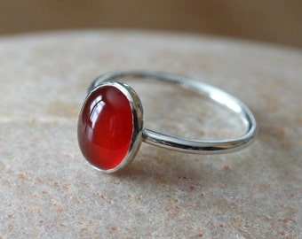 Oval Carnelian Ring 8 x 10 mm in Sterling Silver, Size 2 to 15, Stacking Ring, August Birthstone, Womens Jewelry, Solitaire Ring, Gift
