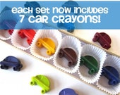 Kids' CAR CRAYONS, Coloring Party Favors, Gift Set of (7) - Eco-Friendly Birthday Party Toys in Asst Colors, Free Gift Box, For Boys & Girls