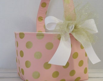 Easter Fabric Candy Basket Bin Bucket Egg Hunt Storage Container - Gold Polka Dots on Pink Fabric