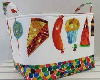 Storage Organization Fabric Basket Container Organizer Bin - Nursery Decor- Made with Licensed Very Hungry Caterpillar Fabrics - Medium Size