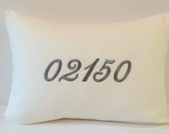 Monogram NUMBER Pillow Cover. Zip Code. House Number. Save the Date. 12 x 16 Hometown Throw Pillow. Dorm Decor. First Home Gift. SewGracious