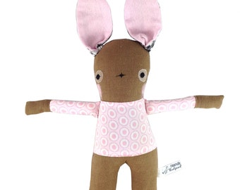 Brown Linen Bunny Rabbit Soft Toy  - New Baby Gift - Pink