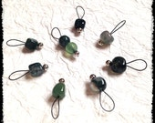 Snag Free Stitch Markers Small Set of 8 - Green Moss Agate -- K14 -- Up to size US 8 (5.0mm) Knitting Needles