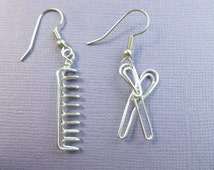 hairdresser's earrings wire wrapped scissors comb
