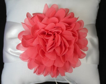 Cream or White Ring Bearer Pillow Chiffon Chrysanthemum in CORAL