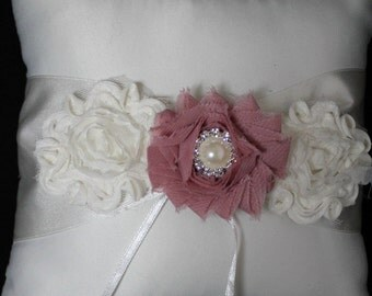 White or Cream Ring Bearer Pillow with Shabby Chic Trim in Ivory and Dusty Rose Pearls and Rhinestone