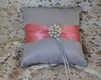 Silver/Gray Ring Bearer Pillow with Coral Satin Ribbon-Large Pearl and Rhinestone Embellishment-Custom Ribbon Colors Available
