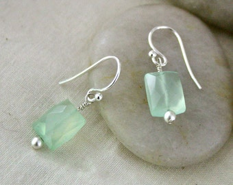 Faceted Prehnite Rectangle Earrings