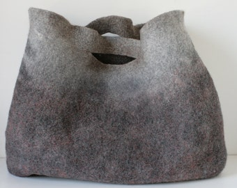 EXTRA LARGE Grey Sturdy Everyday Art Bag / Carryall / Tote / Basket / Shopping / Market / Picnic / Hand felted wool / Wearable Art