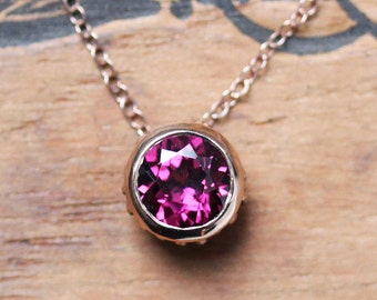 Rose gold necklace dainty, Rhodolite garnet necklace, bezel necklace, rose gold bezel, luxury jewelry, January, ready to ship, wrought