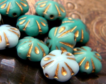 Turquoise Sky Poppies (10) -Czech Glass Puffed Flowers 11mm
