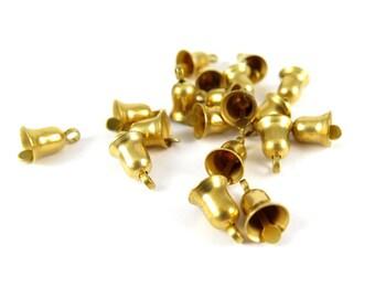 Tiny Raw Brass Bell Charms (16X) (V138)