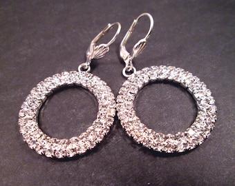 Rhinestone Earrings, White Glass Rhinestone and Silver Dangle Hoops, FREE Shipping U.S.